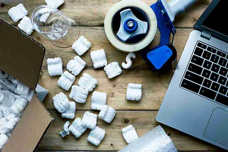 packing peanuts on desk